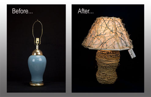 Kudzu lamp shades do you have an old lamp that needs an updated new look nancy can add her artistic touch to your old lamp and make it into a new work of art mozeypictures Image collections